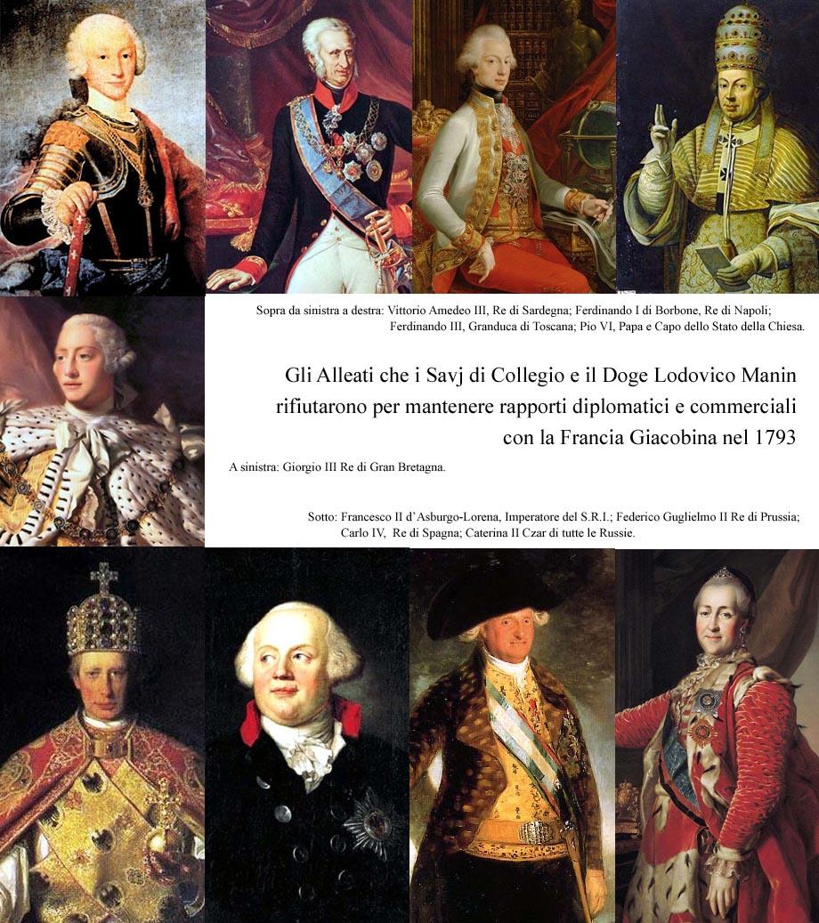 Storia di Venezia - Gli Alleati che i Savj di Collegio e il Doge Lodovico Manin rifiutarono per mantenere rapporti diplomatici e commerciali con la Francia Giacobina nel 1793