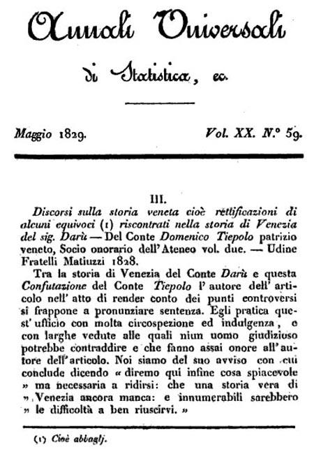 Storia di Venezia - Citazione del Tiepolo negli Annali universali di Statistica, economia pubblica, storia, viaggi e commercio