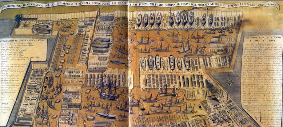Storia di Venezia - Arsenale di Venezia in un disegno del 1797, click per ingrandire