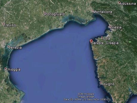 Storia di Venezia, La posizione di Salvore in Google Earth