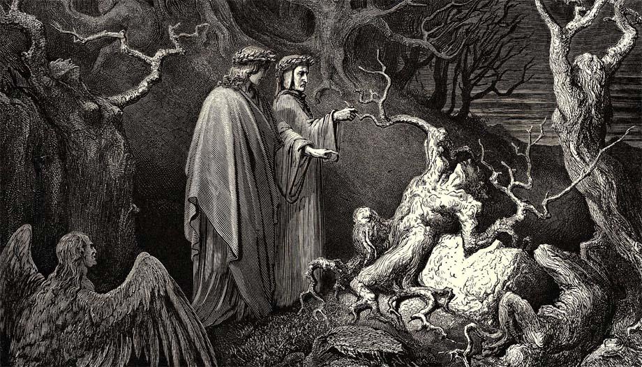 Virgilio e Dante incontrano Pier delle Vigne nella Selva dei suicidi.