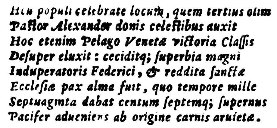 Storia di Venezia, Battaglia di Salvore: Testo epigrafe di Salvore