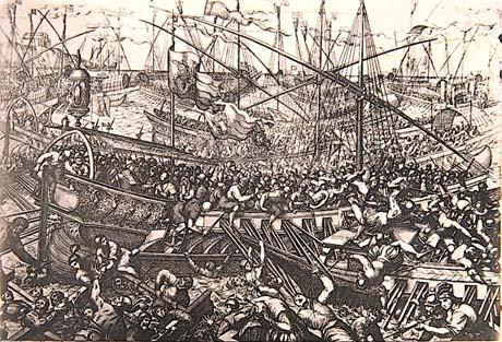 Storia di Venezia, La battaglia di Salvore in una incisione di Domenico Rossetti del quadro di Domenico Tintoretto