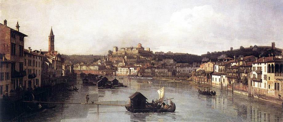 Storia di Venezia - Veduta dell'Adige a Verona in un quadro di Bernardo Bellotto