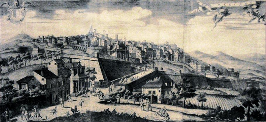 Storia di Venezia - Bergamo in una veduta della metà del 1700