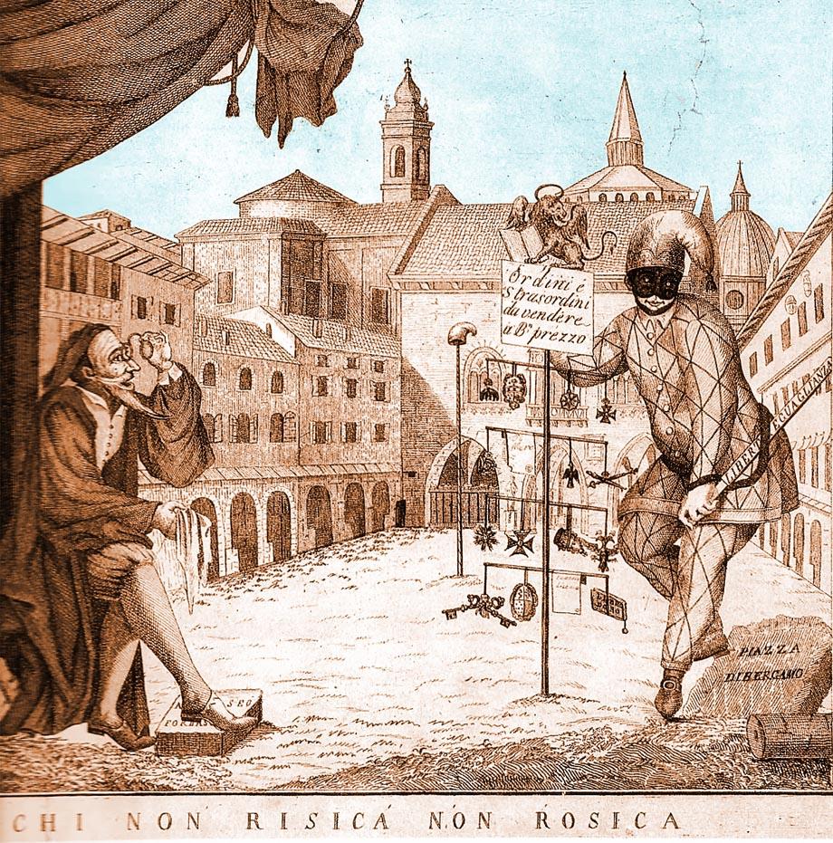 Storia di Venezia - Stampa satirica del tempo che rappresenta Arlecchino che svende a Pantalone ordini cavallereschi, tiare, chiavi, aquile e stemmi.