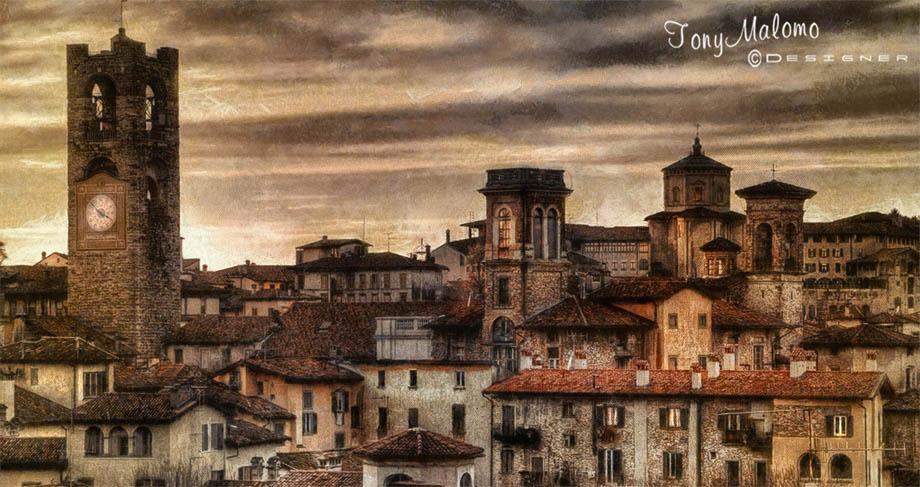 Bergamo alta in un dipinto di Tony Malomo