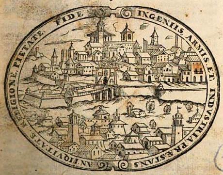 Storia di Venezia - Dal frontespizio Dell'Historia Quadripartita di Bergomo et suo territorio, 1614.