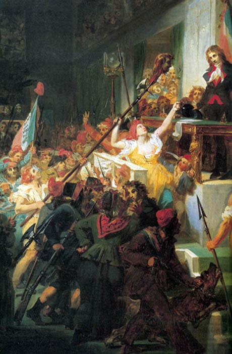 François Antoine de Boissy d'Anglas saluta impassibile la testa del Deputato Jean Féraud presentatagli sulle picche dai Giacobini in rivolta mentre presiede la Convenzione del Primo Pratile 1795