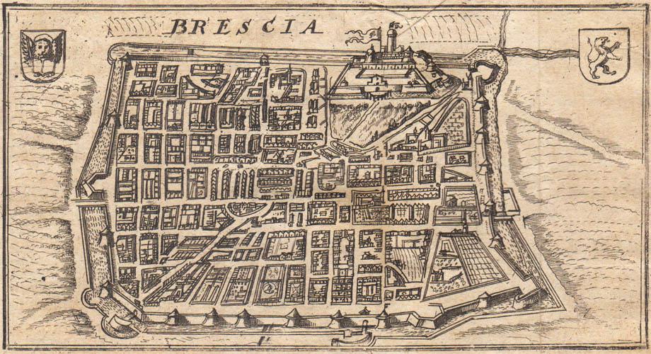 Storia di Venezia - Veduta prospettica di Brescia in un'incisione del 1702