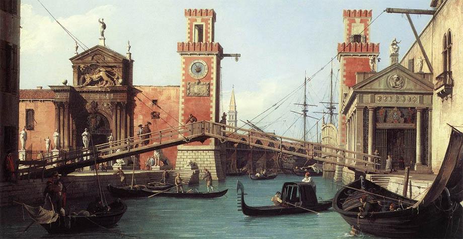 """Arsenale di Venezia nel Mille e Settecento in un dipinto di Antonio Canal, detto """"Il Canaletto"""""""