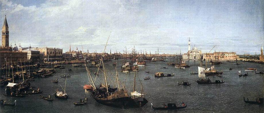"""Il Bacino di San Marco in un quadro di Antonio Canal detto """"Il Canaletto"""""""