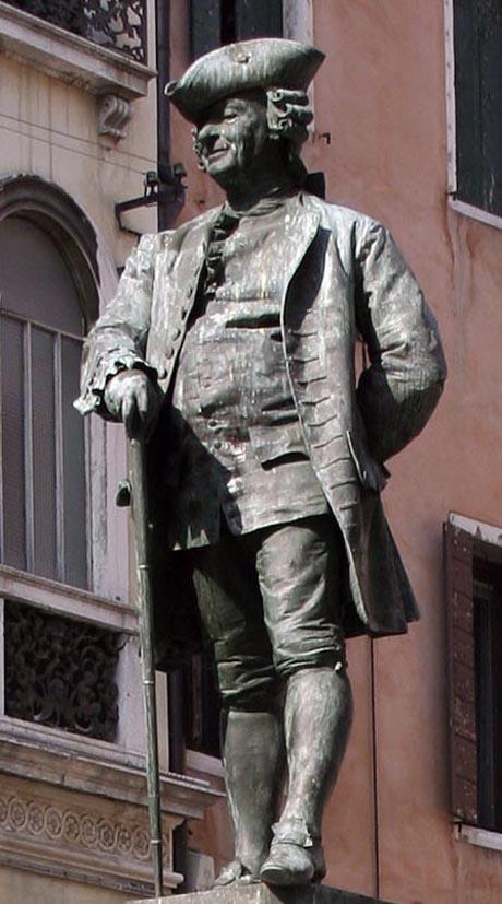 Storia di Venezia - Monumento a Carlo Goldoni in campo San Bortolomio a Venezia