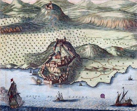 Storia di Venezia - Il Golfo di Cattaro in un'incisione su rame, acquarellata, di Pierre Mortier (inizio Settecento)