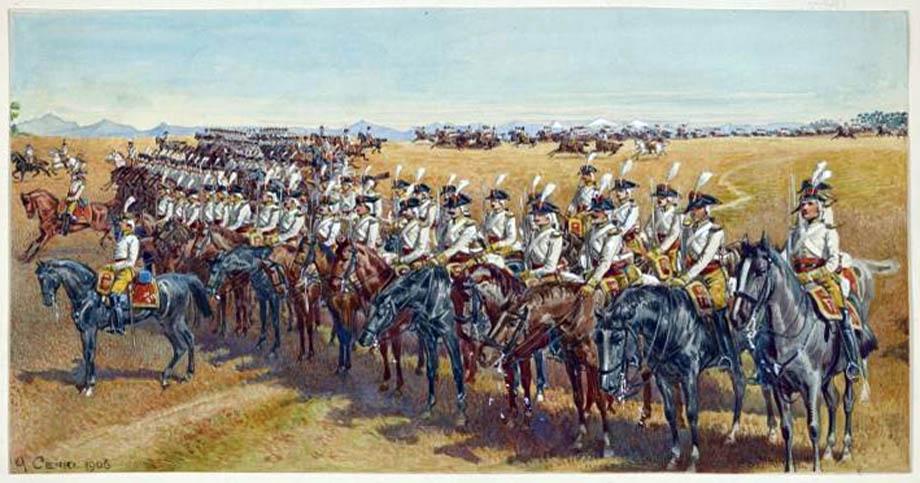 Cavalleria Napoletana in Lombardia in un dipinto di Quinto Cenni del 1906