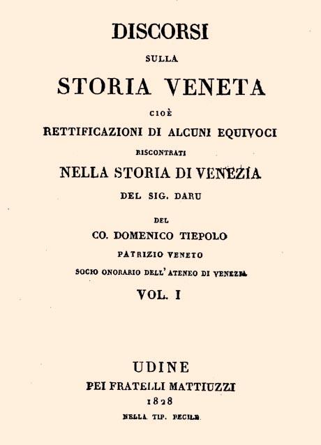 Storia di Venezia - Domenico Tiepolo, Discorsi sulla Storia di Venezia, frontespizio