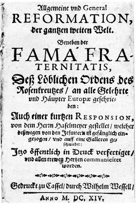 Frontespizio Fama Fraternitatis Rosae Crucis, Kassel 1614