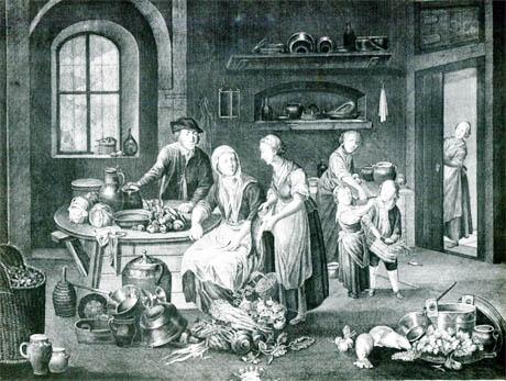 Storia di Venezia - Incisione dedicata a Ferigo Todero Foscari che raffigura presumibilmente una scena quotidiana nelle cucine della Villa Foscari a Malcontenta