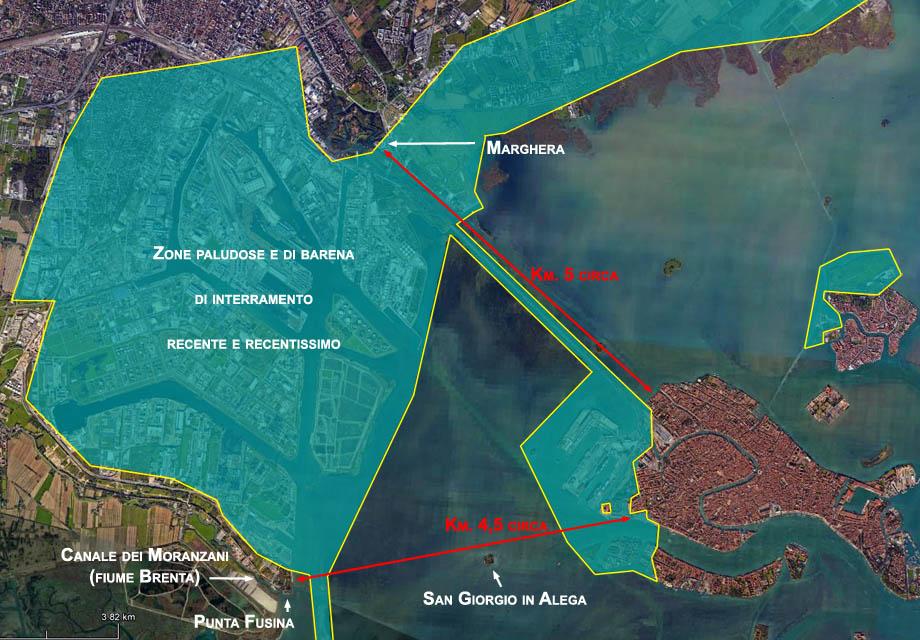 Storia di Venezia, Distanze dalla gronda lagunare al centro abitato di Venezia