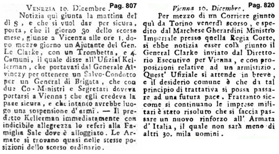 Storia di Venezia - Gazzetta Universale, n. 101 pubblicata Martedì 17 Dicembre 1796; Gazzetta Universale, n. 103 pubblicata Sabato 24 Dicembre 1796