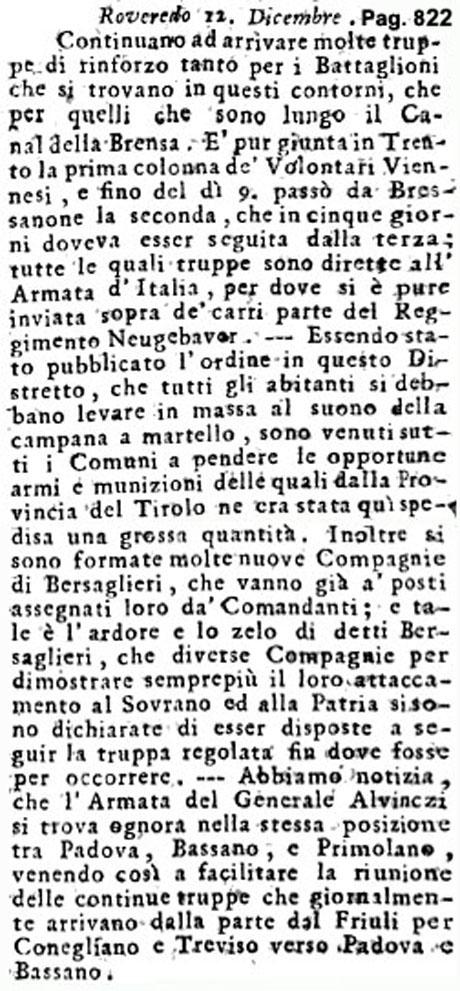 Storia di Venezia - Gazzetta Universale, n. 103 pubblicata Sabato 24 Dicembre 1796