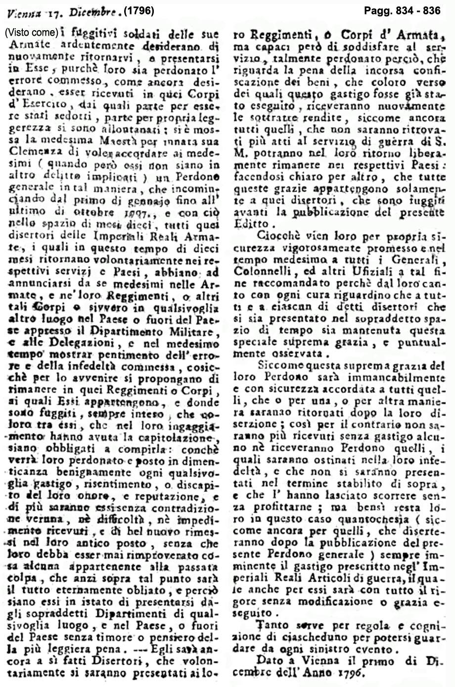 Storia di Venezia - Gazzetta Universale, n. 105 pubblicata Sabato 31 Dicembre 1796