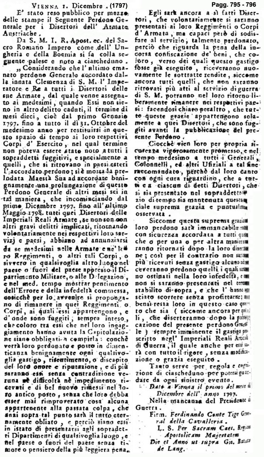Storia di Venezia - Gazzetta Universale, n. 100 pubblicata Sabato 16 Dicembre 1797
