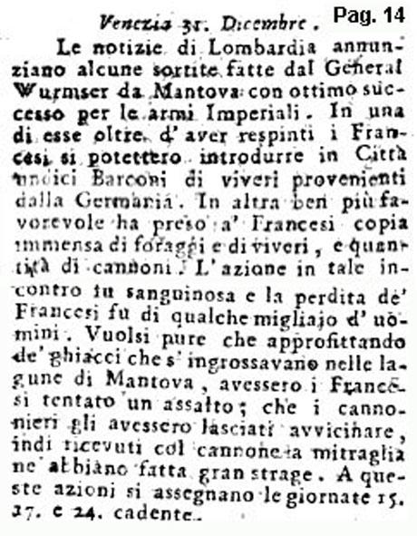 Storia di Venezia - Gazzetta Universale, n. 2 pubblicata Sabato 7 Gennaio 1797