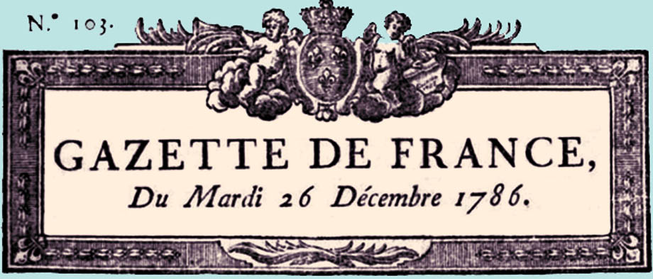 testata della Gazzetta Francese nel 1786