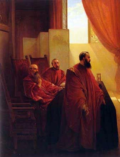 Storia di Venezia - Gli Inquisitori di Stato da un quadro di Francesco Hayez del 1835