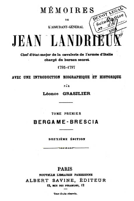 Storia di Venezia - Memoires di Jean Landrieux a sua Biografia a cura di Léonce Grasilier