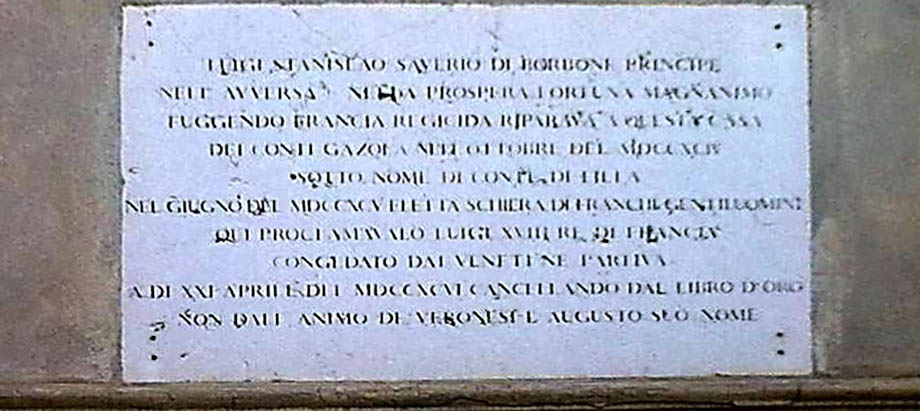 Storia di Venezia - Lapide sulla residenza veronese di Luigi XVIII