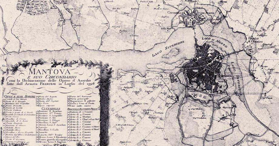 Storia di Venezia - Le opere d'assedio Napoleoniche a Mantova nel Luglio 1796, click per ingrandire