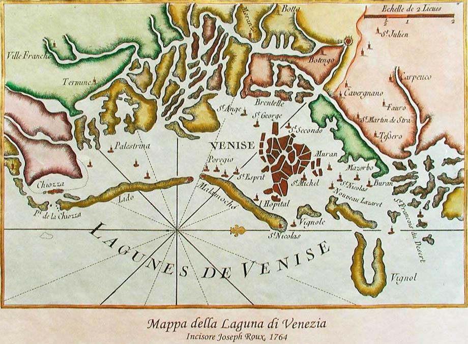 Storia di Venezia - Mappa della Laguna di Venezia in una incisione di Joseph Roux del 1764