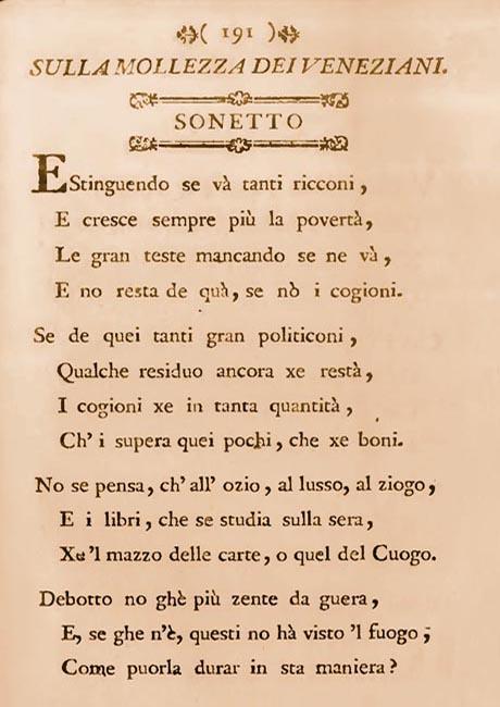 Storia di Venezia - Giorgio Baffo, Sonetto Sulla Mollezza dei Veneziani