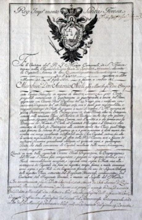 Certificato nominativo di rendita di 44.025 Lire emesso dal Monte Santa Teresa
