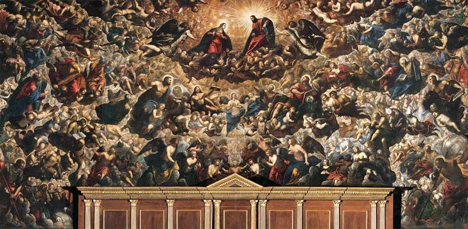 Storia di Venezia - Il Paradiso dipinto dal Tintoretto sulla parete del Trono nella Sala del Maggior Consiglio in Palazzo Ducale a Venezia