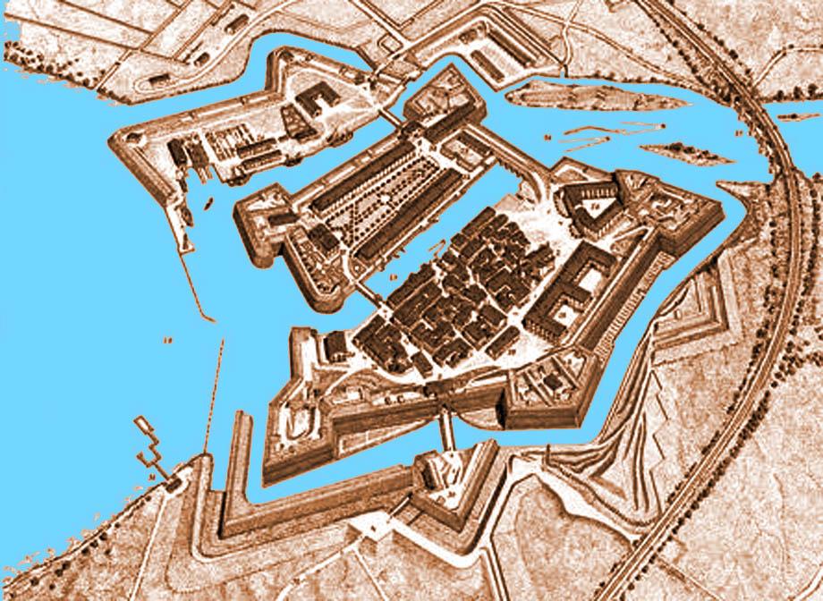 Storia di Venezia - Veduta prospettica della Fortezza di Peschiera sul Garda