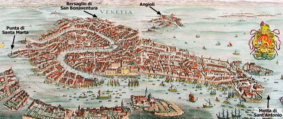 Storia di Venezia, mappa delle difese urbane collocate da Niccolò Morosini