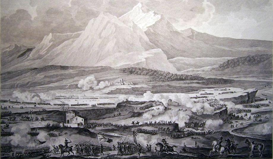 Storia di Venezia - La Battaglia di Rivoli in una suggestiva quanto irrealistica veduta di Carle Vernet nel 1820