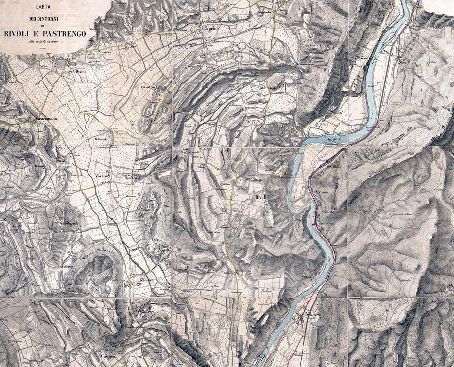 La zona di Rivoli in una carta dell'I.G.M. del 1801