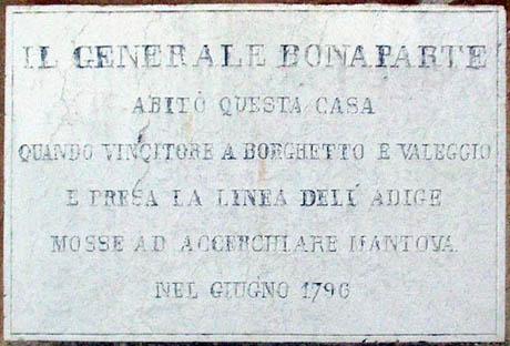 Storia di Venezia - Lapide commemorativa dell'evento sulla Villa Gobio a Roverbella
