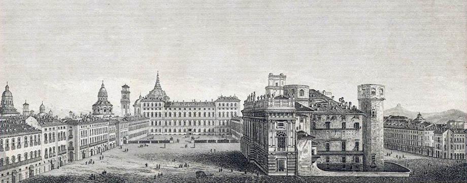 Piazza Castello di Torino in una stampa del XIX Secolo.