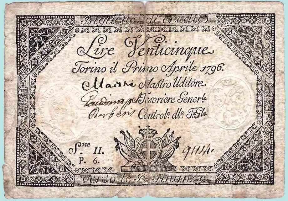 25 Lire torinesi del 1796