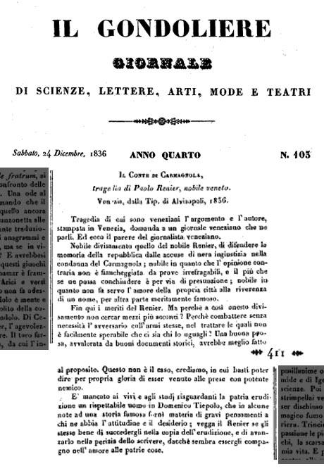 Il Gondoliere, Venezia 1836
