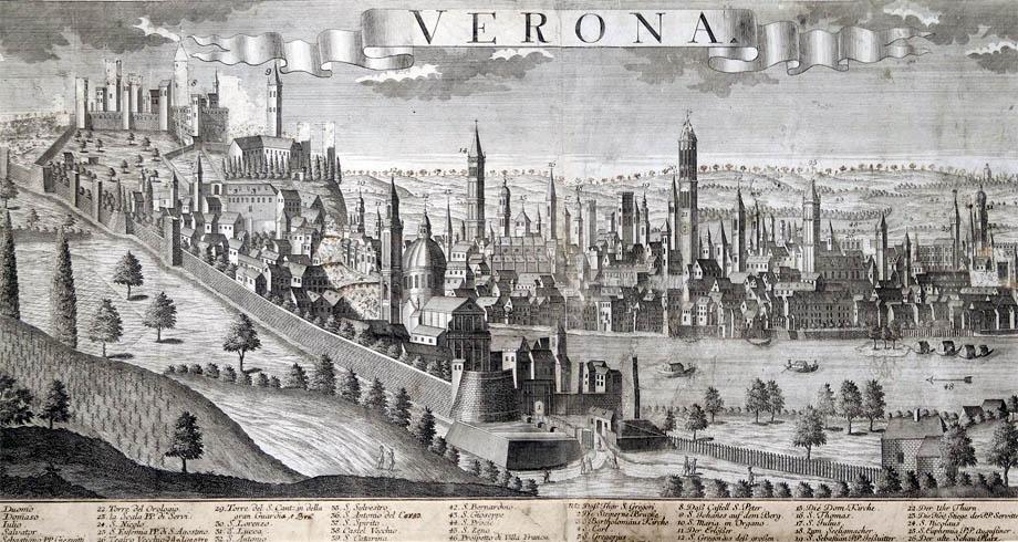 Storia di Venezia - Antica illustrazione della città di Verona - clic per ingrandire