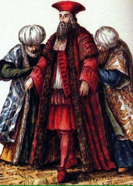 Storia di Venezia - Gravembroch si sarebbe ispirato allo Zuliani, molto attivo come mecenate e protettore di artisti, per questa raffigurazione del costume del Bailo Veneziano a Costantinopoli
