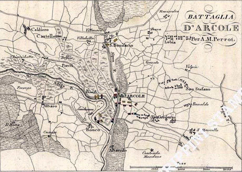 Storia di Venezia - Il campo di battaglia di Arcole in una incisione di di De Norvins e Perrot del 1833