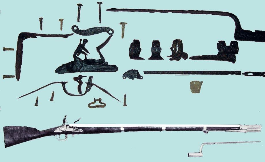 Storia di Venezia - Moschetto austriaco della fine del Settecento, e le parti ritrovate con un metal detector
