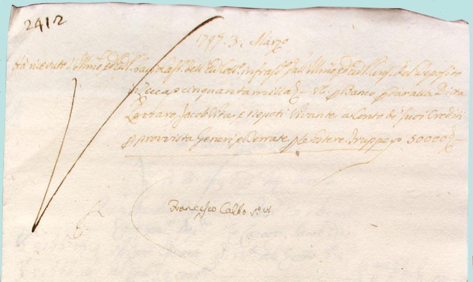 Storia di Venezia, bollettino pagamento ditta Vivante
